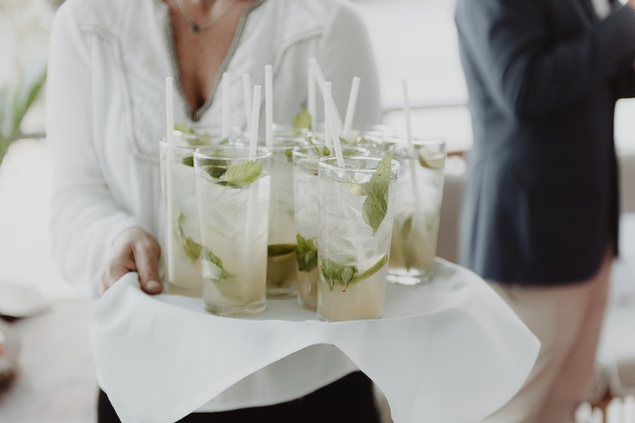 mojitos on a tray served by miss spritz