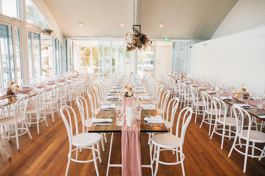 blush pastel reception styling