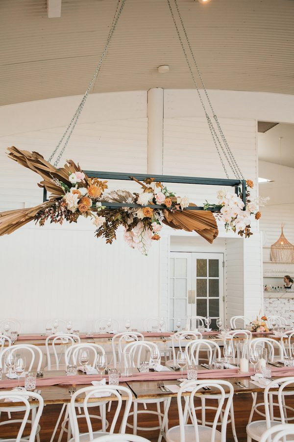 dried floral hanging install