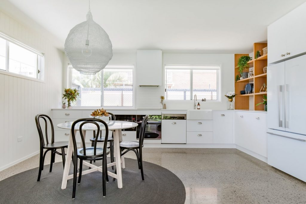 Styled holiday home kitchen and dining at Tweed Heads accommodation