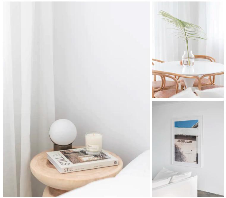 Coastal inspired interior homewares at Palm Beach accommodation