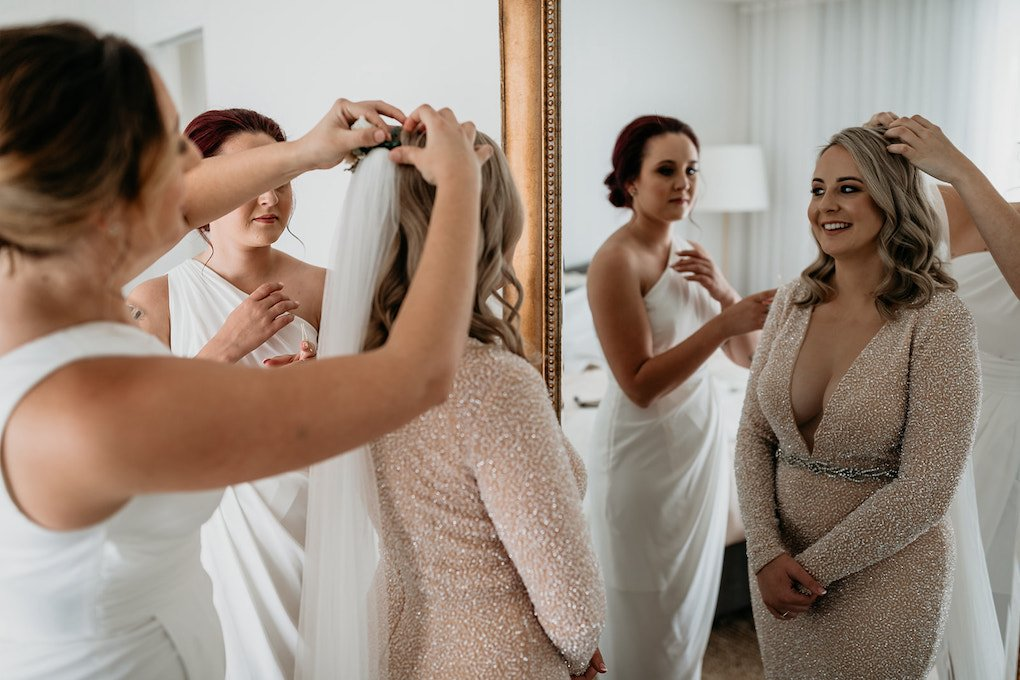 Bride getting ready at Tweed Coast accommodation