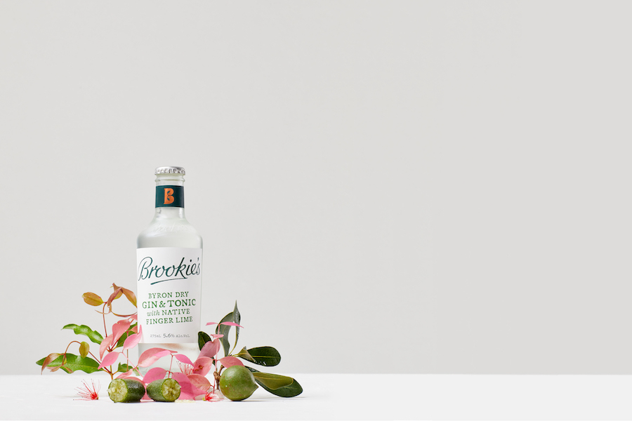 Brookies Gin and Tonic bottle with botanical ingredients.